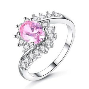 Dainty Pink Crystal CZ Silver Ring